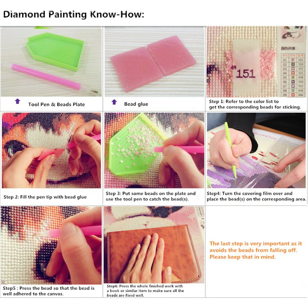 Diamond Painting by Number Kit, Full Drill Round Beads DIY 5D Embroidery Cross Stitch Supply Arts Craft Canvas Wall Decor (Canvas Size: 12\'\' x 18\'\'/30cm x 40cm) (Hidden Faces)