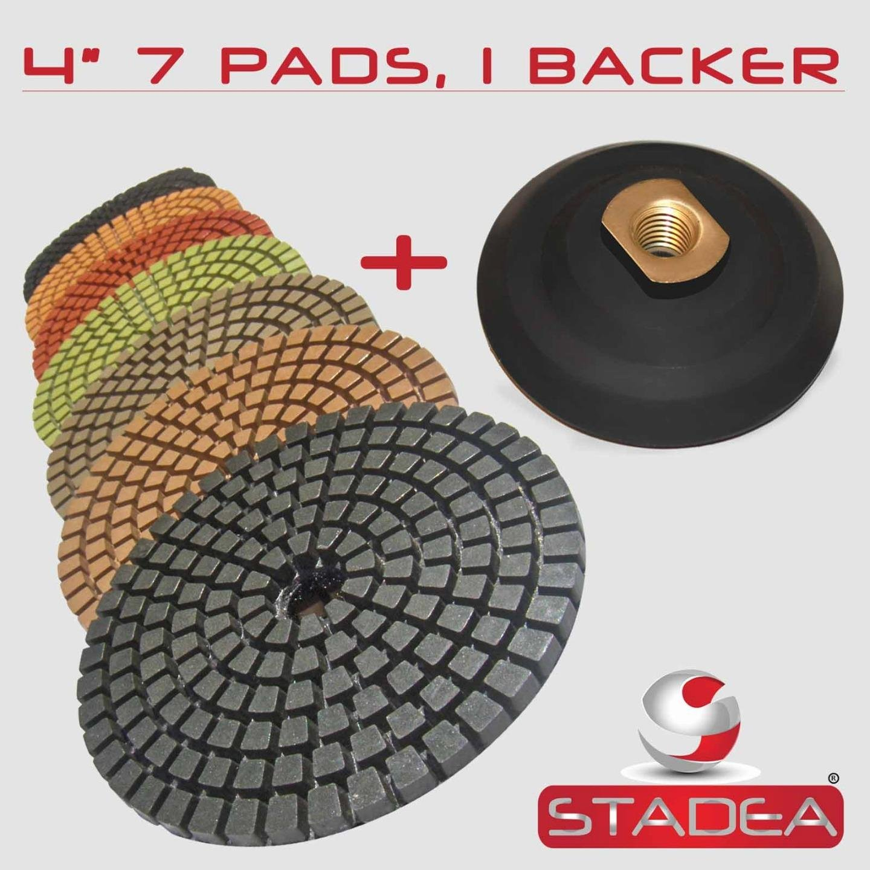 STADEA Premium Grade Wet 4'' Diamond Polishing Pads Set + Rubber Backer For GRANITE MARBLE STONE