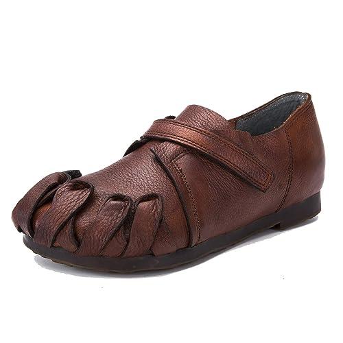 Mocasines Vintage en Cuero Genuino de otoño Mocasines con Velcro para Mujer Punta Redonda Zapatos Planos Ocasionales: Amazon.es: Zapatos y complementos