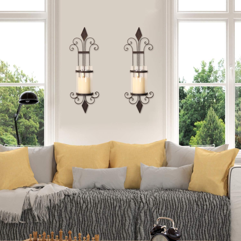 Decent Home Decorative Hurricane Pillar Candle Brown Wall Sconces Holder Iron Finish Vine Pattern Set of 2