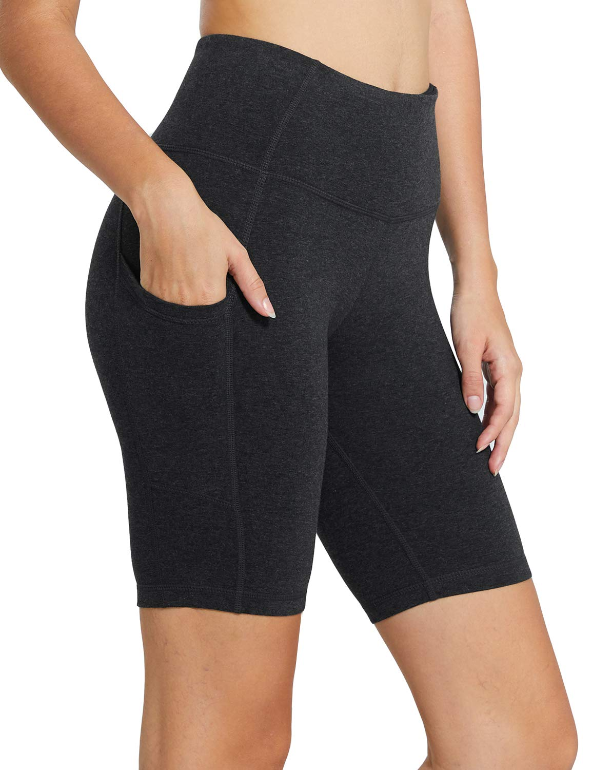 Baleaf Women's 8'' High Waist Workout Yoga Shorts Tummy Control Side Pockets Charcoal Size L by Baleaf