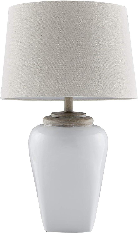 "Martha Stewart Jemma Table Lamp Living Room Decor - Curved Ceramic Base, Tapered Drum Shade, Modern Home Office Desk Lighting, Nightstand Reading Light for Bedroom, 15"" X 15"" X 26"", White"