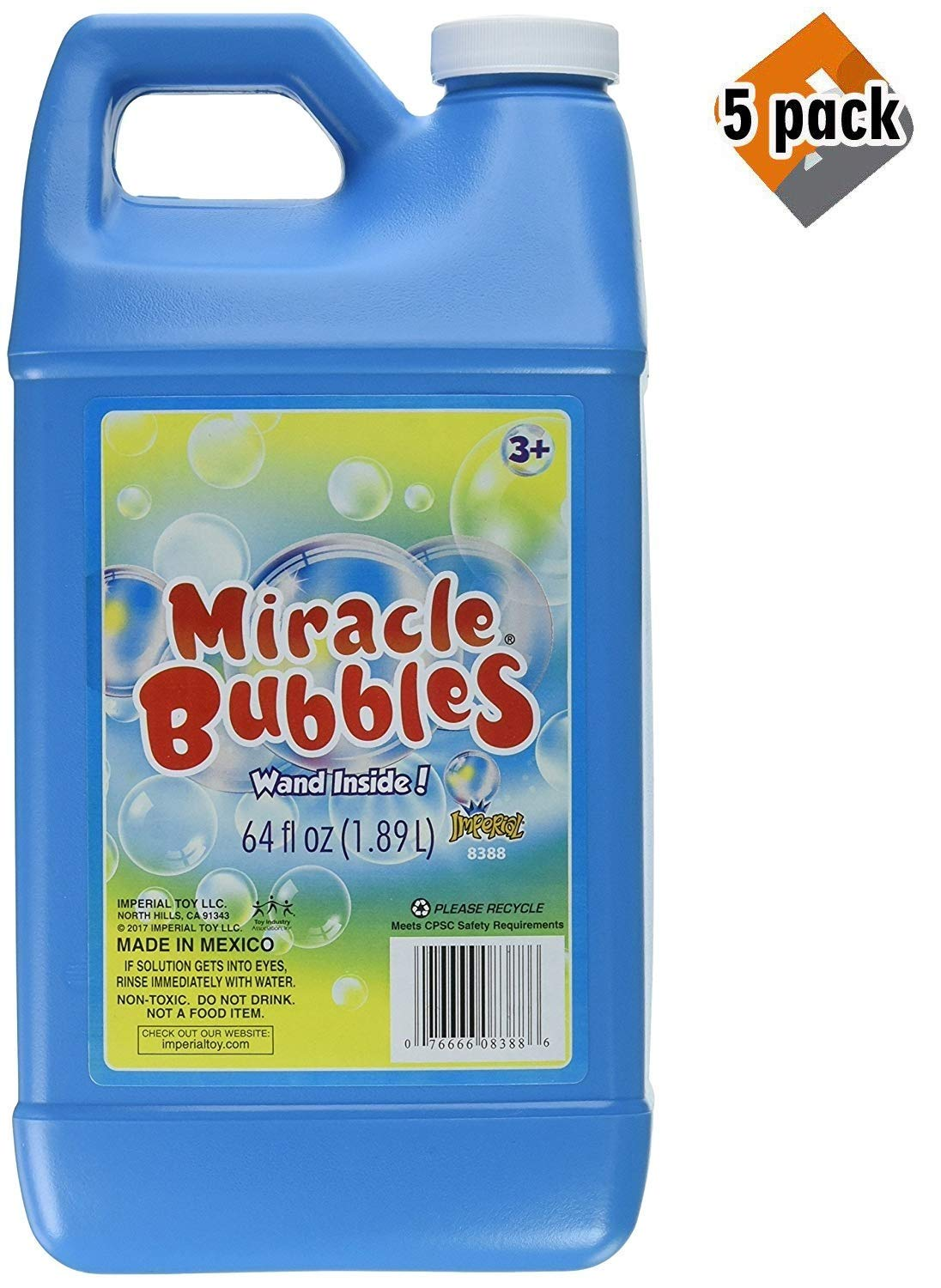Darice UPC 1021-13 Miracle Bubbles Solution Refill, 64-Ounce Bottle Colors May Vary(5 Pack)