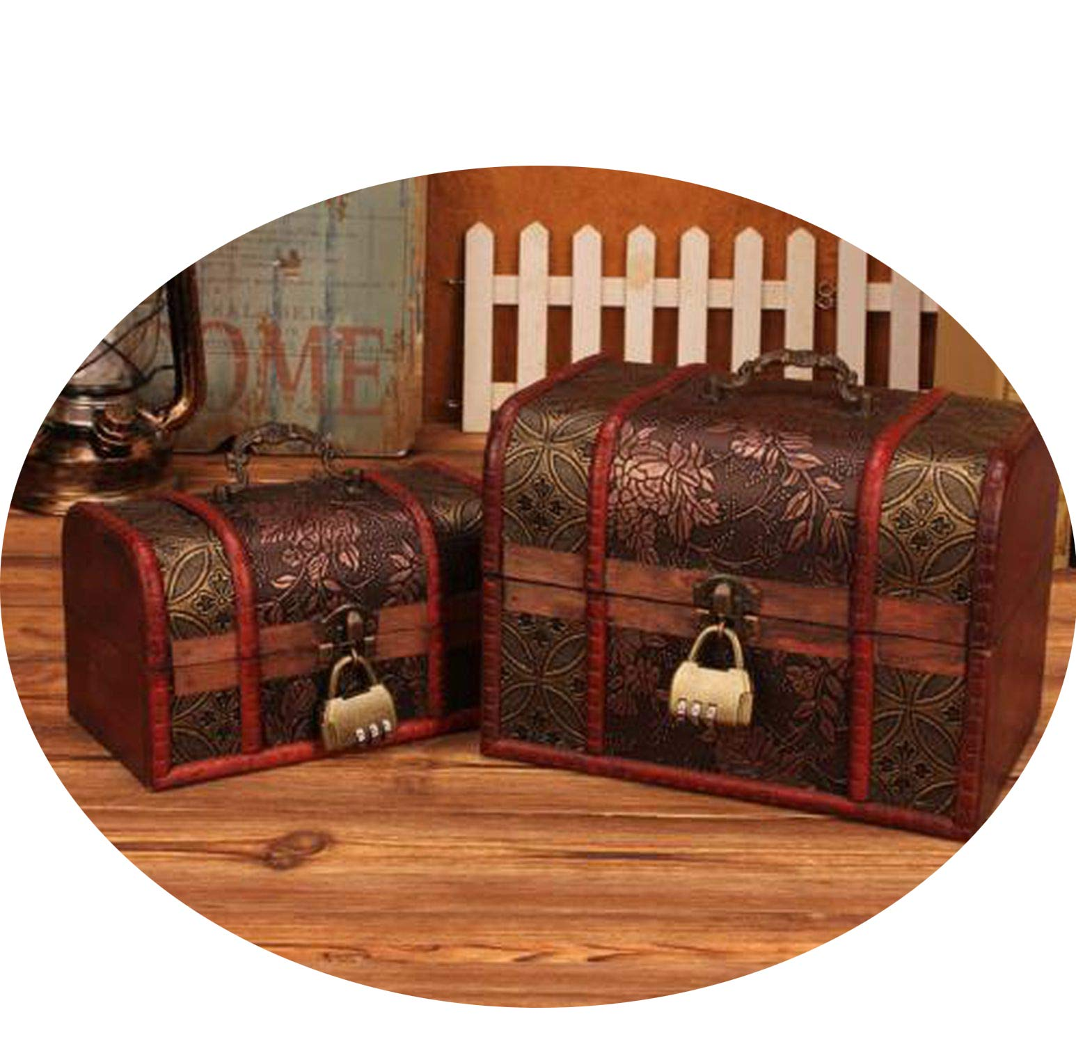 Vintage storage box desktop wool jewelry box with lock decoration box Wedding gifts,with lock