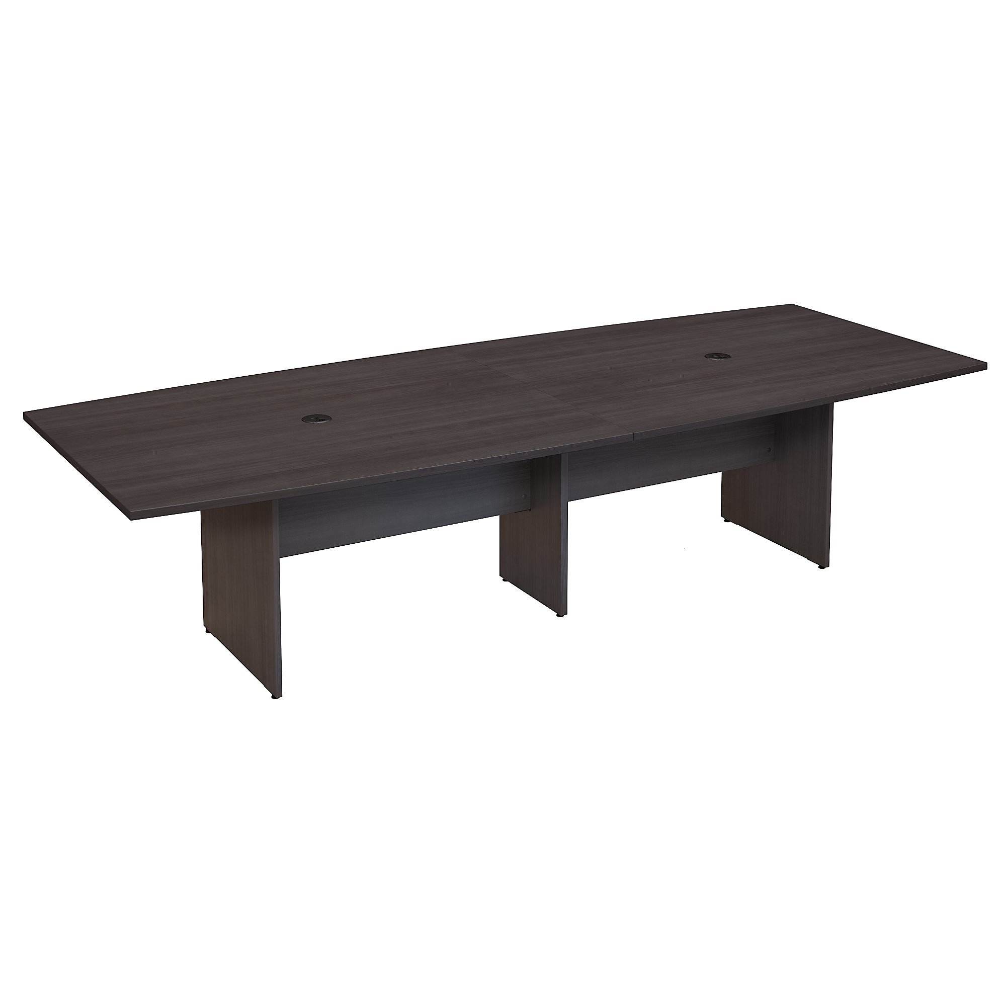 Bush Business Furniture 120W x 48D Boat Shaped Conference Table with Wood Base in Storm Gray by Bush Business Furniture