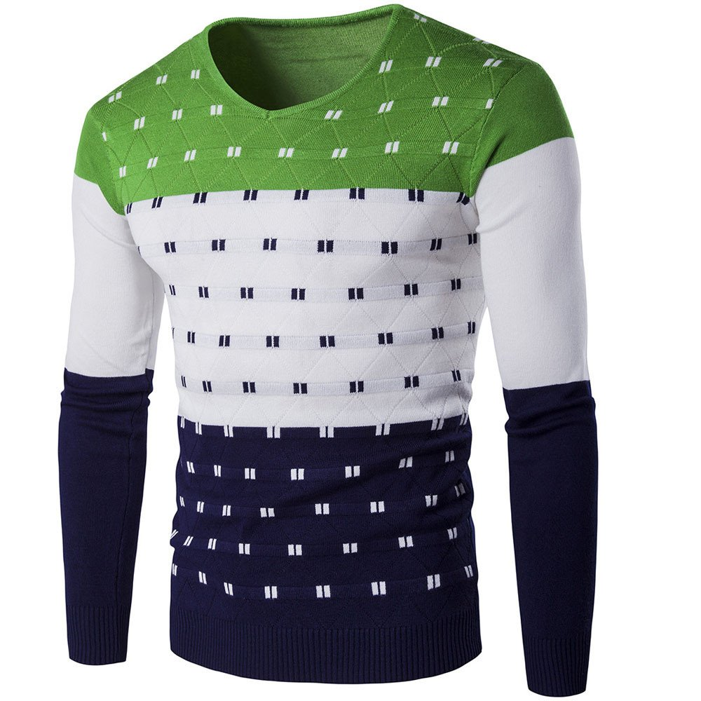 Clearance WUAI Mens Knitting Sweater Casual Warm Printed Pullover Fashion Slim Fit Outwear Tops (Green,US Size M = Tag L)