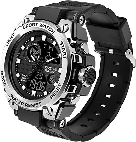 Mens Military Sports Watches LED Large Face Digital Fitness Waterproof Watches