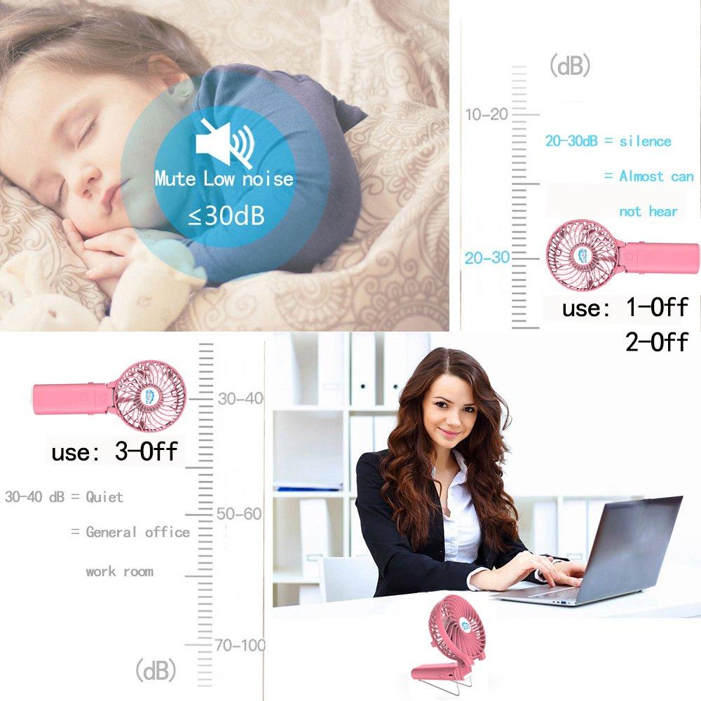 Small Handheld Fan,HandFan USB Rechargeable Fan mini Portable Fan Power Personal Fan Collapsible Electric Fan Desk Fan with 4000mA Mobile Battery for Stroller Camping Tent Dorm Office(Pink rabbit)