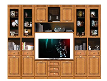 Arteferretto Living room wall tv unit in wood, wall unit ...