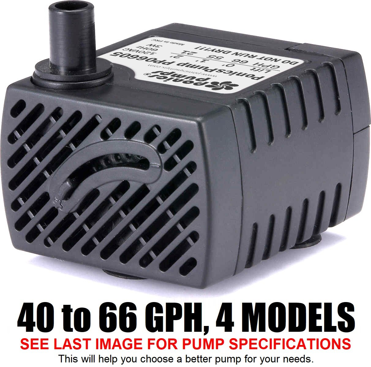 PonicsPump PP06605: 66 GPH Submersible Pump With 5 Cord   3W... For