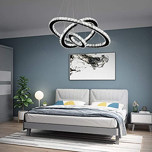 Arxeel Modern Crystal Chandelier, Contemporary Led Ceiling Lights Fixtures Pendant Lighting for Living Room Bedroom Restaurant Porch Dining Room 3 Rings, Dia 27.5 19.6 11.8