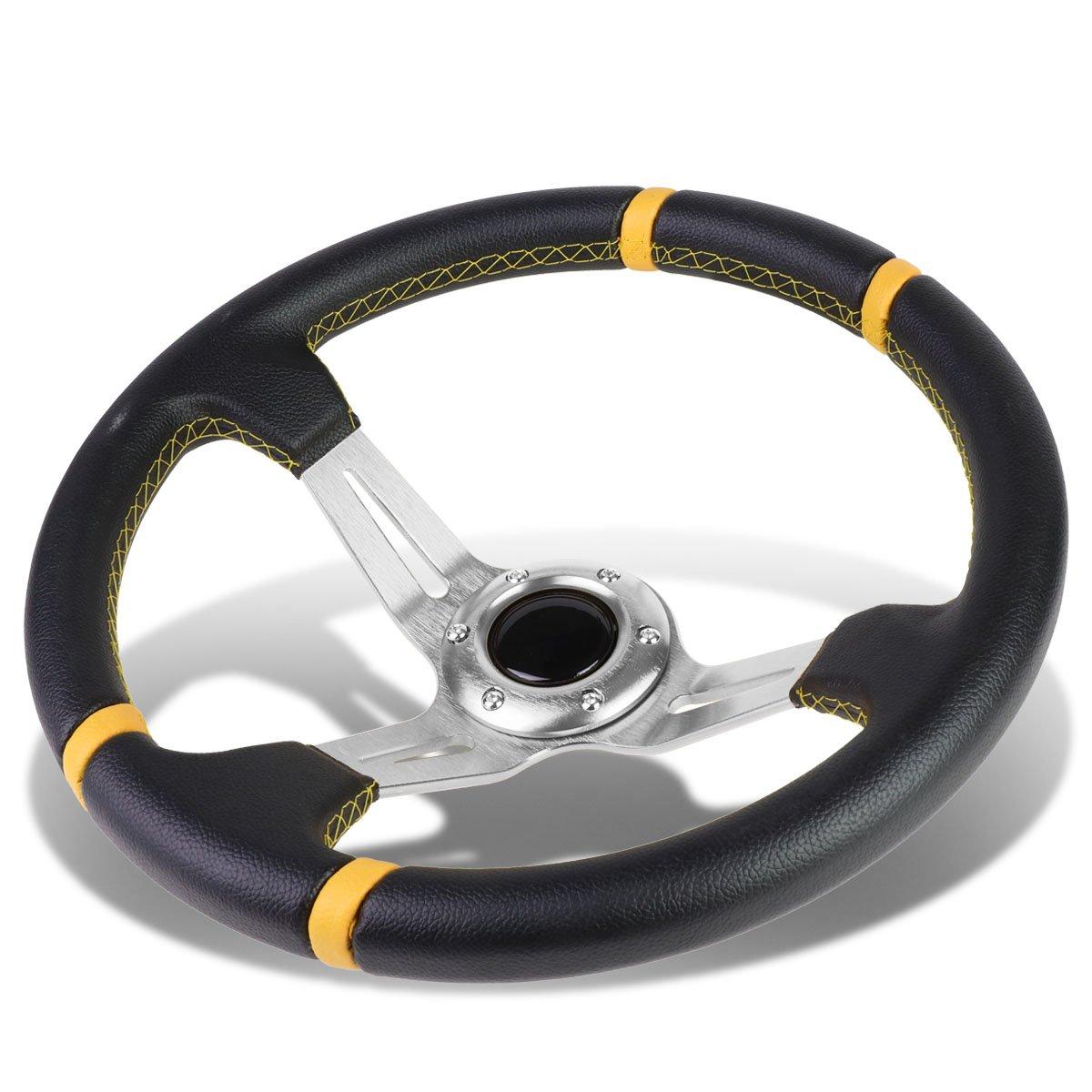 Aluminum Frame Vinyl Leather Cover 350mm 6-Bolt Steering wheels + Horn Button (Gold Spoke/Gold Stripe) Auto Dynasty