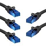 5 x KabelDirekt Cables de Red Ethernet (Cat6, LAN, Gigabit Ethernet, RJ45, UTP, Compatible con todas las Versiones Anteriores Cat5/Cat5e) 1,5 m TOP-Series-Negro-Azul
