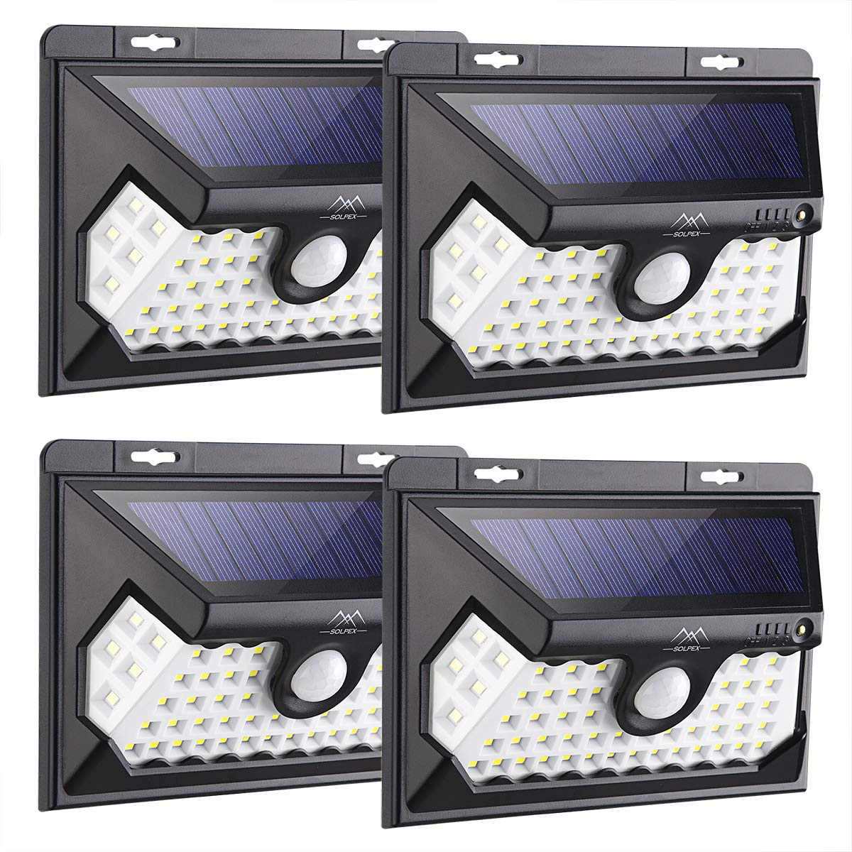 Solpex 58 LED Solar Lights Outdoor, Waterproof Solar Motion Sensor Lights, 270 Wide Angle, Wireless Easy-to-Install Security Lights for Front Door, Yard, Garage, Deck-4 Pack