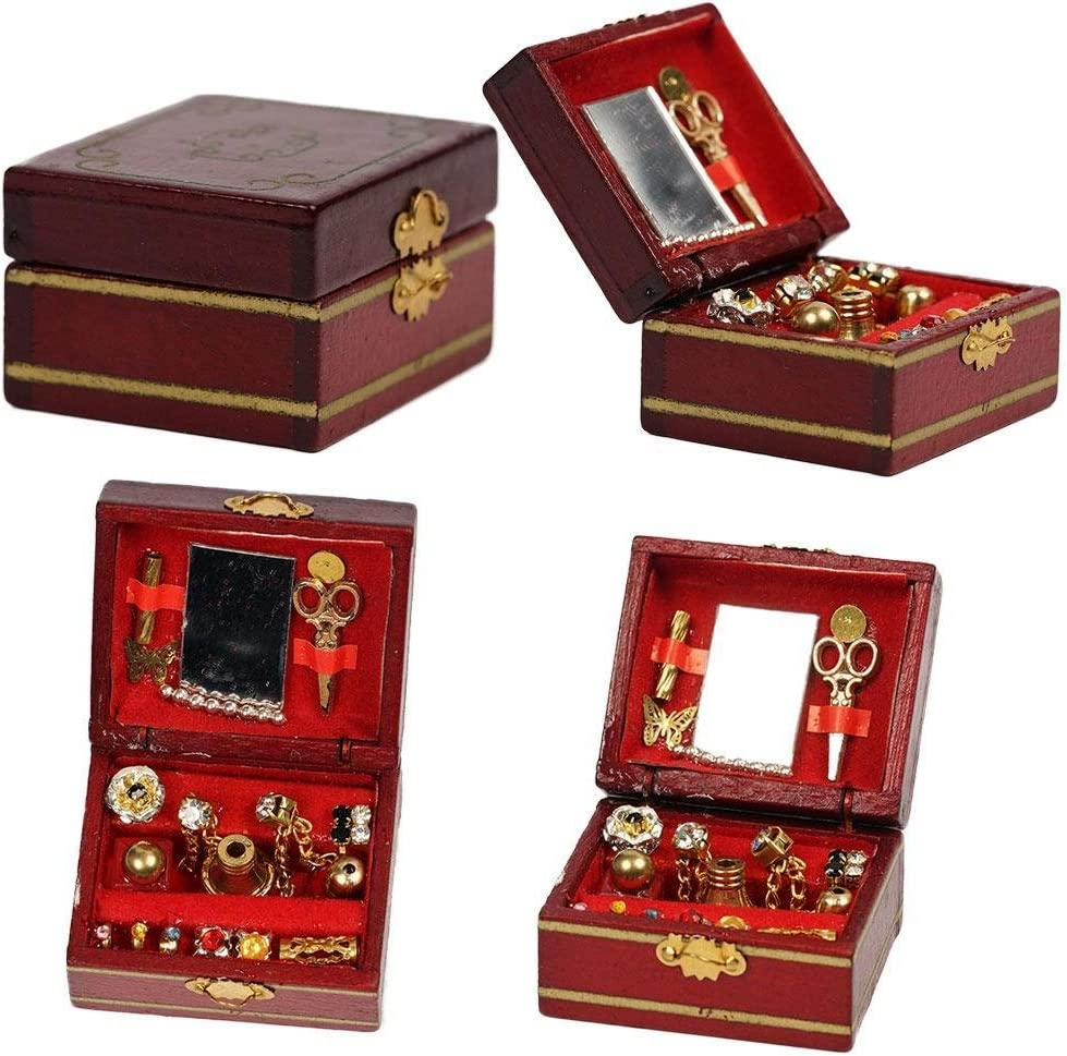 huyipin 1//12 Dollhouse Miniature Accessory Mini Wooden Vintage Jewelry Box Simulation Furniture Model Toys Dollhouse Accessories