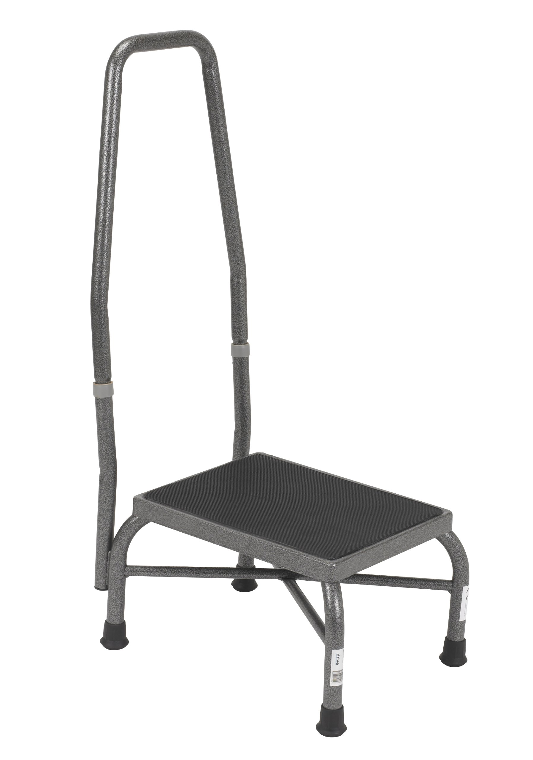 Drive Medical Heavy Duty Bariatric Footstool with Handrail and Non Skid Rubber Platform, Silver Vein by Drive Medical