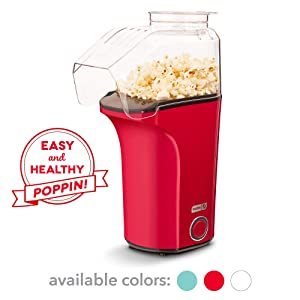 DASH DAPP150V2RD04 Hot Air Popcorn Popper Maker with Measuring Cup to Portion Popping Corn Kernels + Melt Butter Makes 16C Red