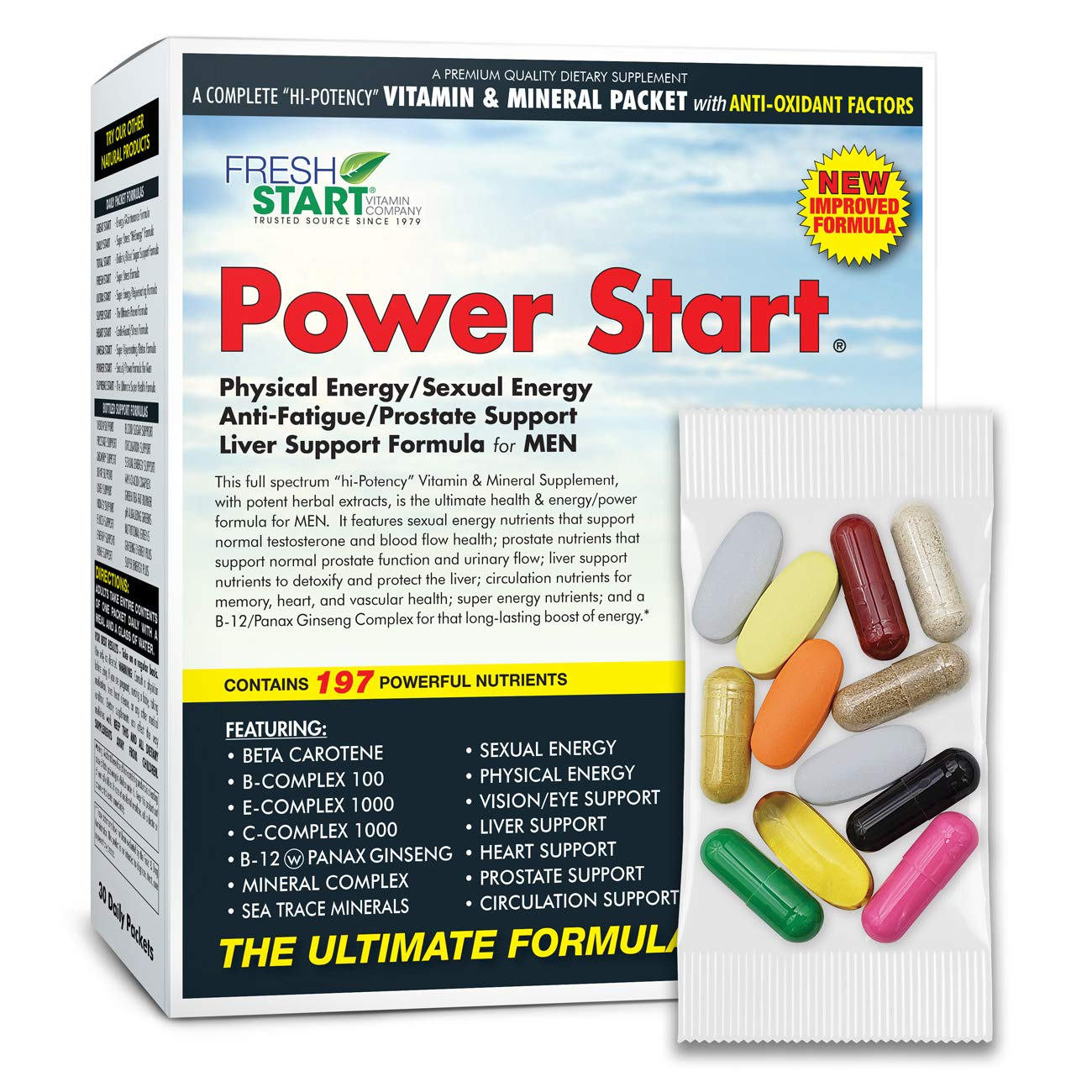 Power Start - Complete Daily Vitamin Packet | Premium Multivitamin Supplement for Men with Antioxidants | Physical Energy + Stamina + Liver + Prostate + Testosterone Support | 30-Day Supply