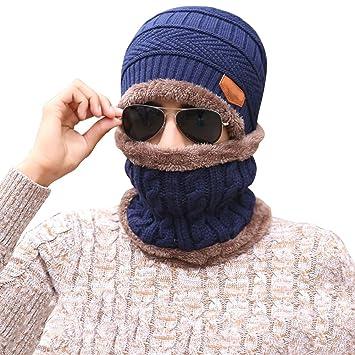 nuevo estilo 5d67d 337ea Vandot Hombre Sombrero Caliente de Punto y Bufanda tubular con Forro de  Lana, para Hombres Adultos, 2 Piezas