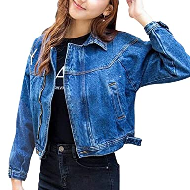 5342b5f8e5e5c JudyBridal Women s Jean Jacket Fashion Oversized Zipper Denim Jacket Coat  Blue S