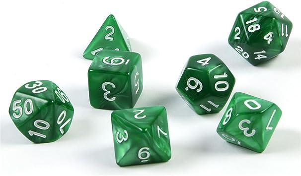 shibby 7 dados poliédricos en verde para juegos de rol y mesa ...