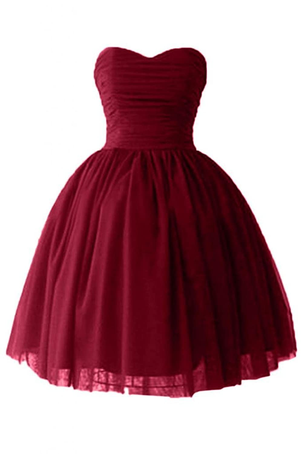 Yougao Women's Dress Ball Gown Sweetheart Cocktail Dresses Satin Tulle Homecoming Dresses US 24W Burgundy
