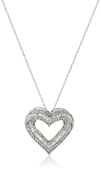 Amazon 10k white gold diamond heart pendant necklace 12 cttw 10k white gold diamond heart pendant necklace 12 cttw 18quot aloadofball Images