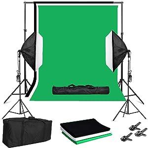 Folong Photography Lighting Kit with Backdrop, 10 x 8.5 ft Backdrop Stand with 9 x 6ft Photo Backdrop 3 Colors and Softbox Lighting Kit, Home Studio Lighting Kit for Video, Photography