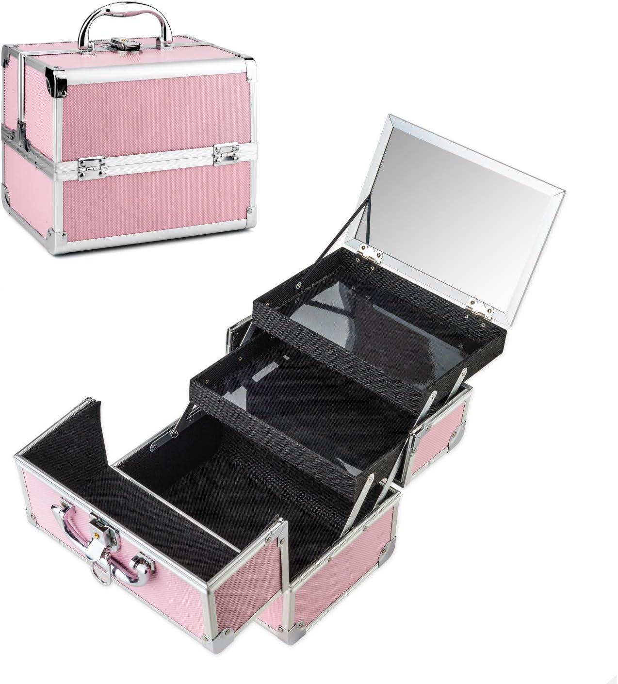 AMASAVA Maletín para Maquillaje, Estuche de Maquillaje, Estuche de cosméticos, 24 x 17 x 19 cm, ABS de Aluminio, con Espejo, Cerradura, 2 bandejas, Negro + Rosa (Rosa-1)