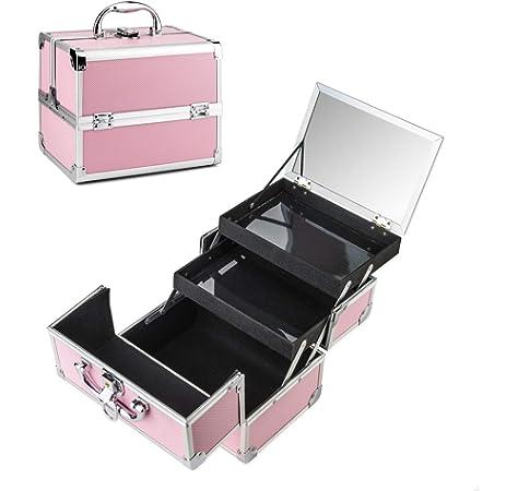 Maletín Para Maquillaje Con Espejo Caja De Cosméticos Estuches De Maquillaje, 19.5 x 15 x 16 cm, Fiore Beige: Amazon.es: Belleza
