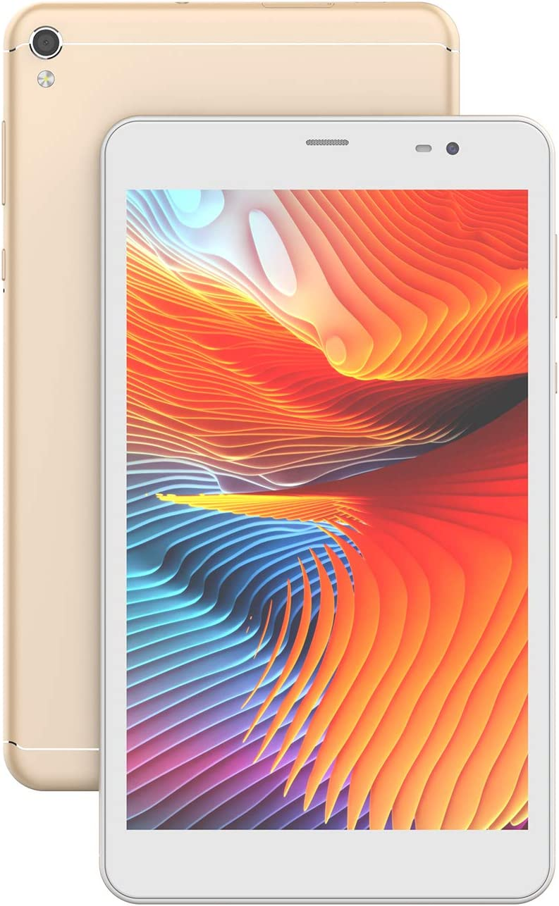 Tablet 8 inch, Android 10.0, 2GB RAM 32GB ROM, 3G LTE Phone Tablet, Quad-Core Processor,1280x800 HD IPS Touch Screen,8MP+5MP Dual Camera,Wi-Fi,Bluetooth,GPS(Golden, Metal Material)
