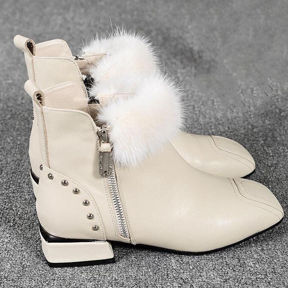 BOTXV Damen Low-Heels Low-Heels Low-Heels Kurze Stiefel Neue Herbst und Winter Martin Stiefel Quadrat Kopf Baumwolle Schuhe aus Echtem Leder Flache Seite Reißverschluss Rivet 248ec9