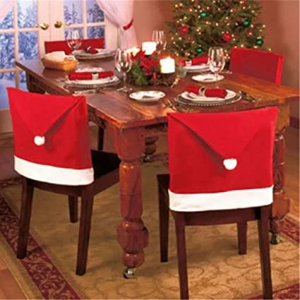 Santa Claus Hat Christmas Chair Covers Miniko Tm Santa Claus Party Gift Dinner Dinning Christmas Table Decorations Tableware Set Pack 4