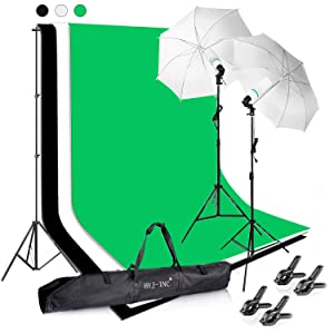 HYJ-INC Photography Photo Video Studio Background Stand Support Kit with 3 Muslin Backdrop Kits (White/Black/Chromakey Green Screen Kit),1050W 5500K Daylight Umbrella Lighting Kit with Carry Bag
