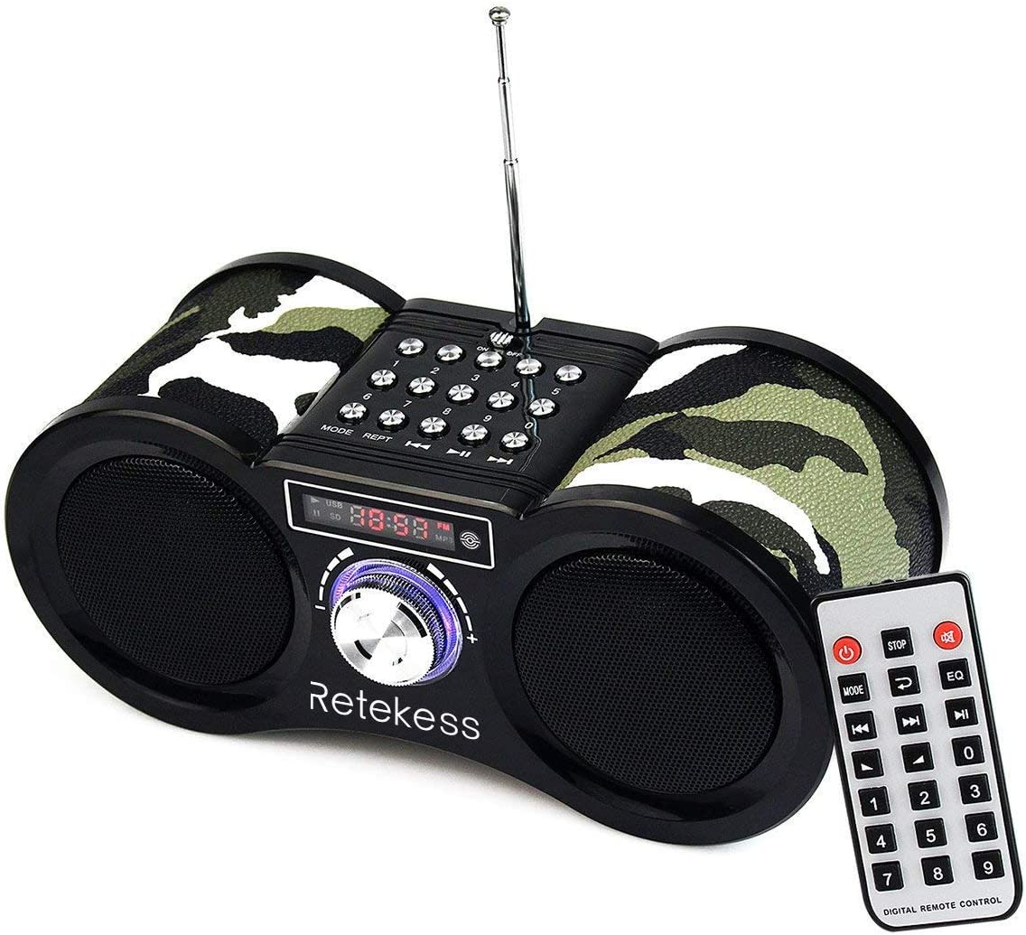 Retekess V113 Radio Boombox, Digital FM Stereo Radio, Portable Radio with Remote Control for Bedroom, Living Room, Support TF USB AUX Input(Camouflage)