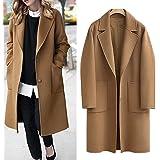 Women's Casual Long Sleeve Plus Size Lapel Outwear Trench Coat Cardigan