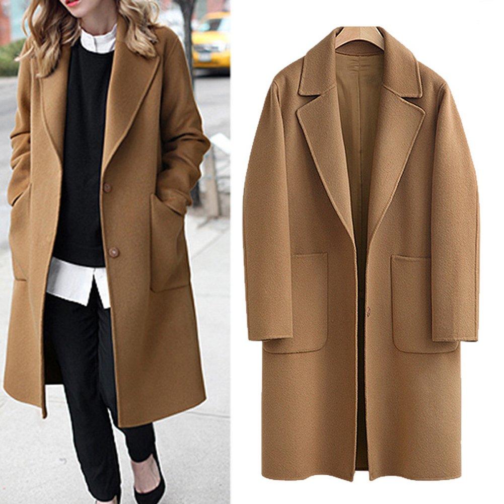 Women's Casual Long Sleeve Plus Size Lapel Outwear Trench Coat Cardigan Brown) BOP-DMWT-9