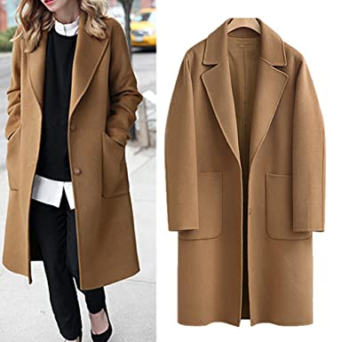 bea65db55aa Image Unavailable. Image not available for. Color  Women s Casual Long  Sleeve Plus Size Lapel Outwear Trench Coat Cardigan ...
