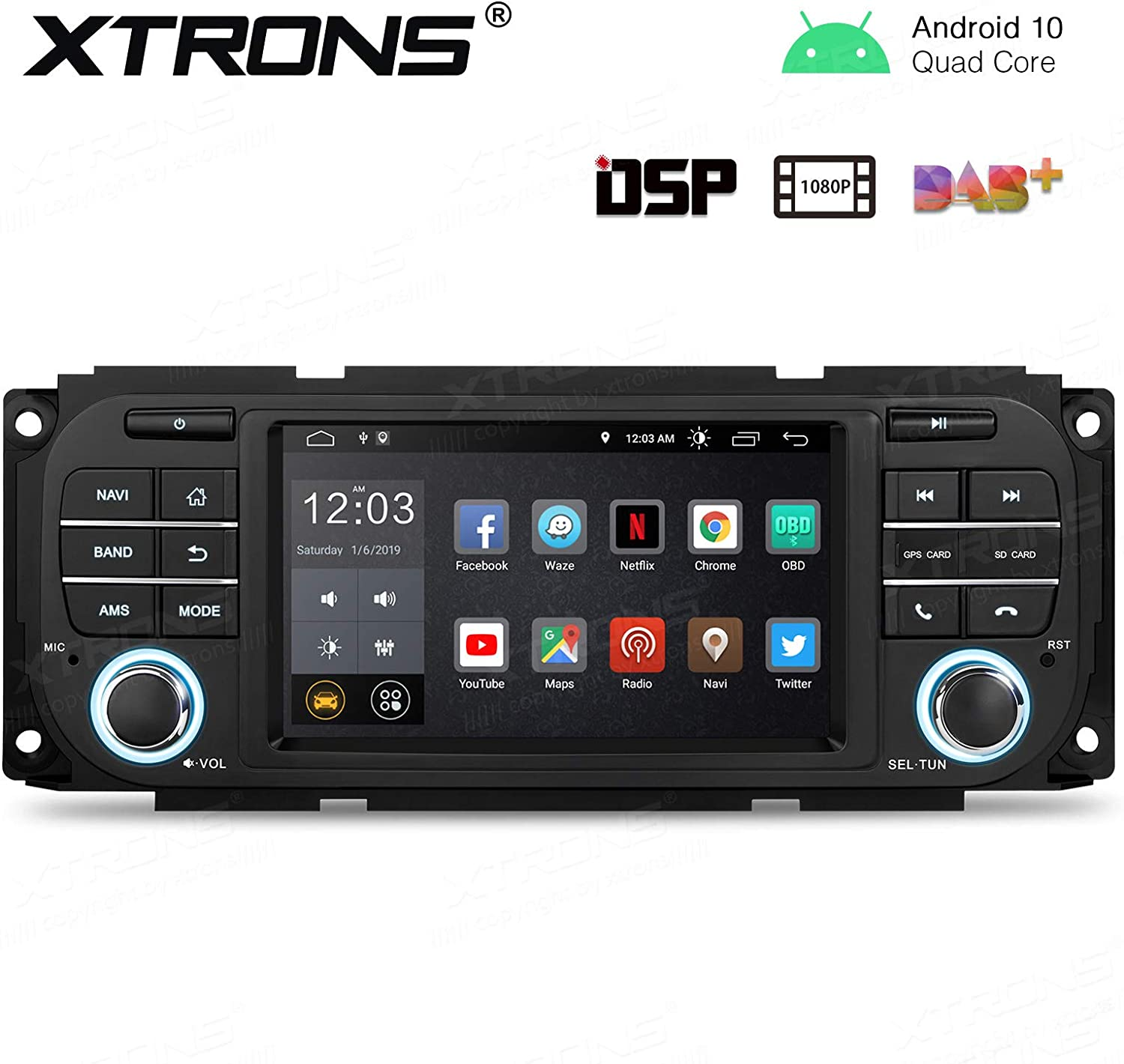XTRONS Android 9.0 Car Stereo Radio Player for Jeep Dodge Chrysler Bluetooth GPS Navigator with 5 Inch Touch Screen Built-in DSP Quad-Core 2G RAM USB SD Port Supports TPMS DVR OBD2 Backup Camera SWC