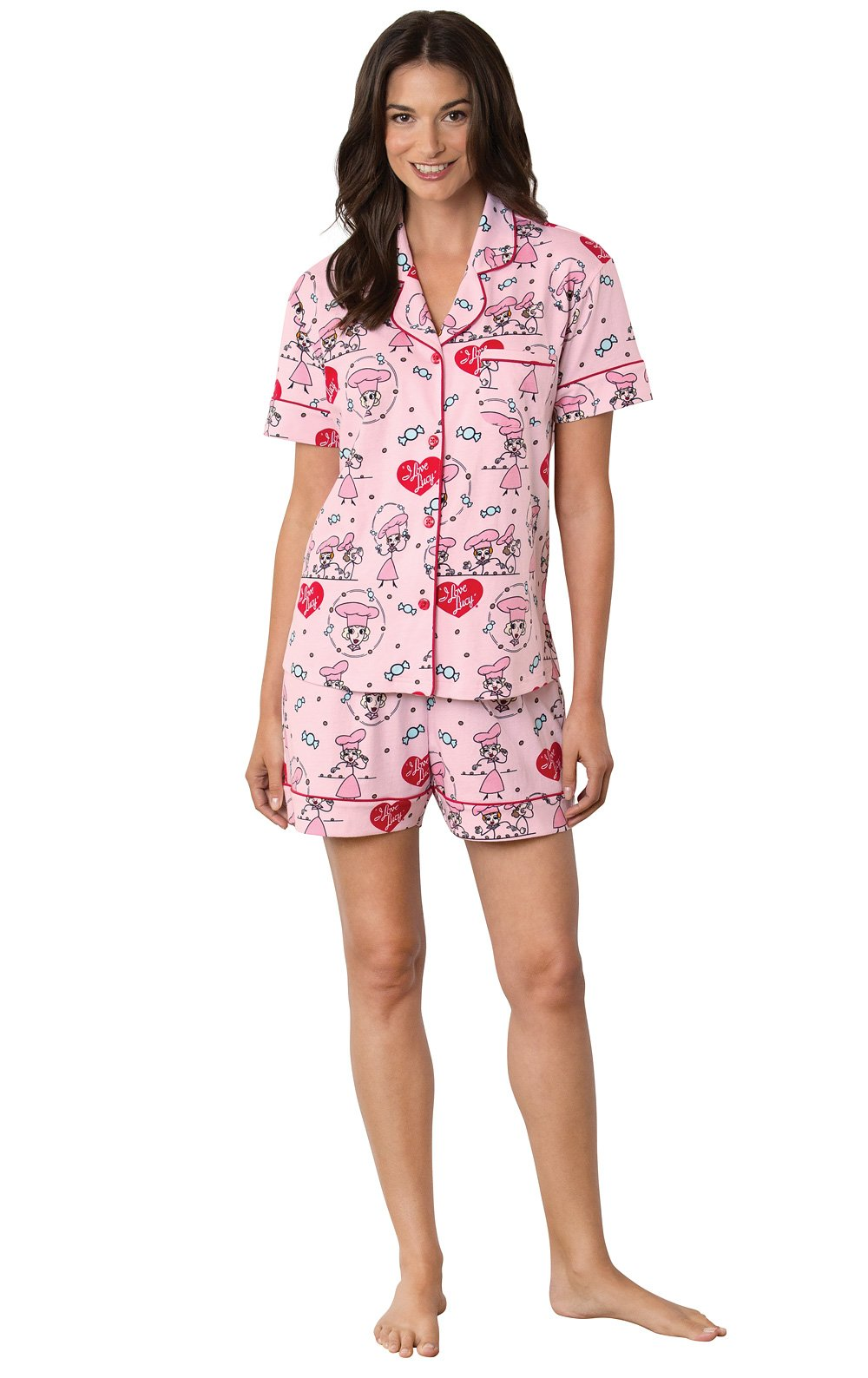 PajamaGram I Love Lucy Chocolate Factory Short Women's Pajamas, Pink, XLG (16)