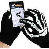 Display Handschuhe Touch Screen Touchscreen | Skelett Design | Beidseitig verwendbar | Optimal für die Bedienung von Handy Smartphone iPhone iPad Tablet | Einheitsgröße