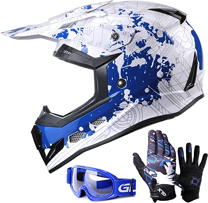 Leopard LEO-X19 PREDATOR Kids Motocross Motorbike MX Helmet /& Gloves /& Goggles
