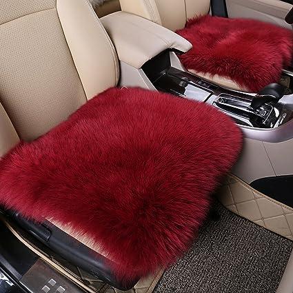 Wine red Winter Warmer Car Wool full set Seat Cover Sheepskin Cushion Pad Soft