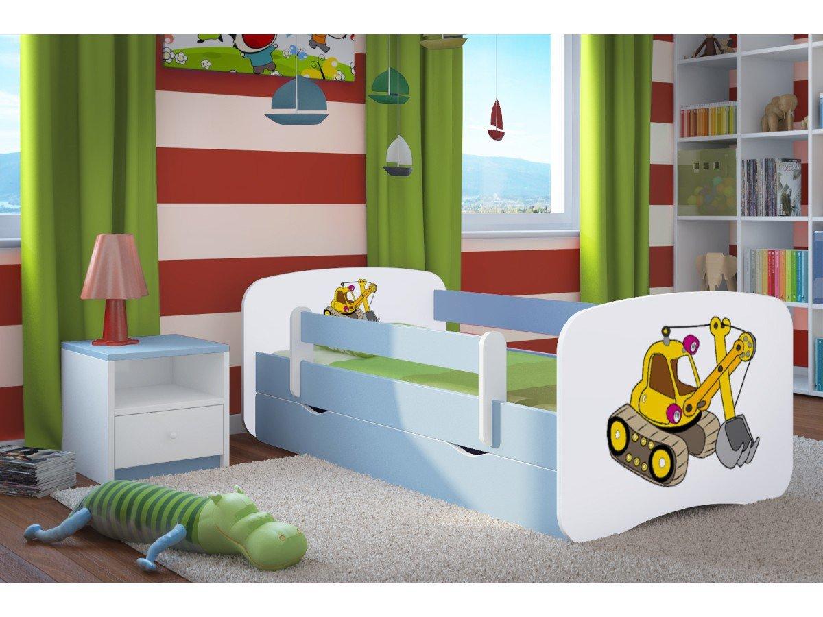 Kocot Kids Kinderbett Jugendbett 70x140 80x160 80x180 Blau mit Rausfallschutz Matratze Schublade und Lattenrost Kinderbetten für Junge - Bagger 140 cm