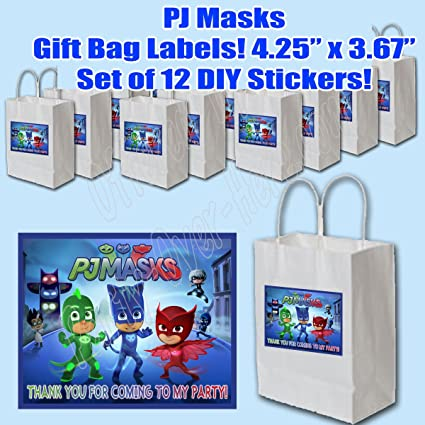 "PJ Masks Party Favors Supplies Decorations Gift Bag Label STICKERS ONLY 3.75"" x 4.75"""