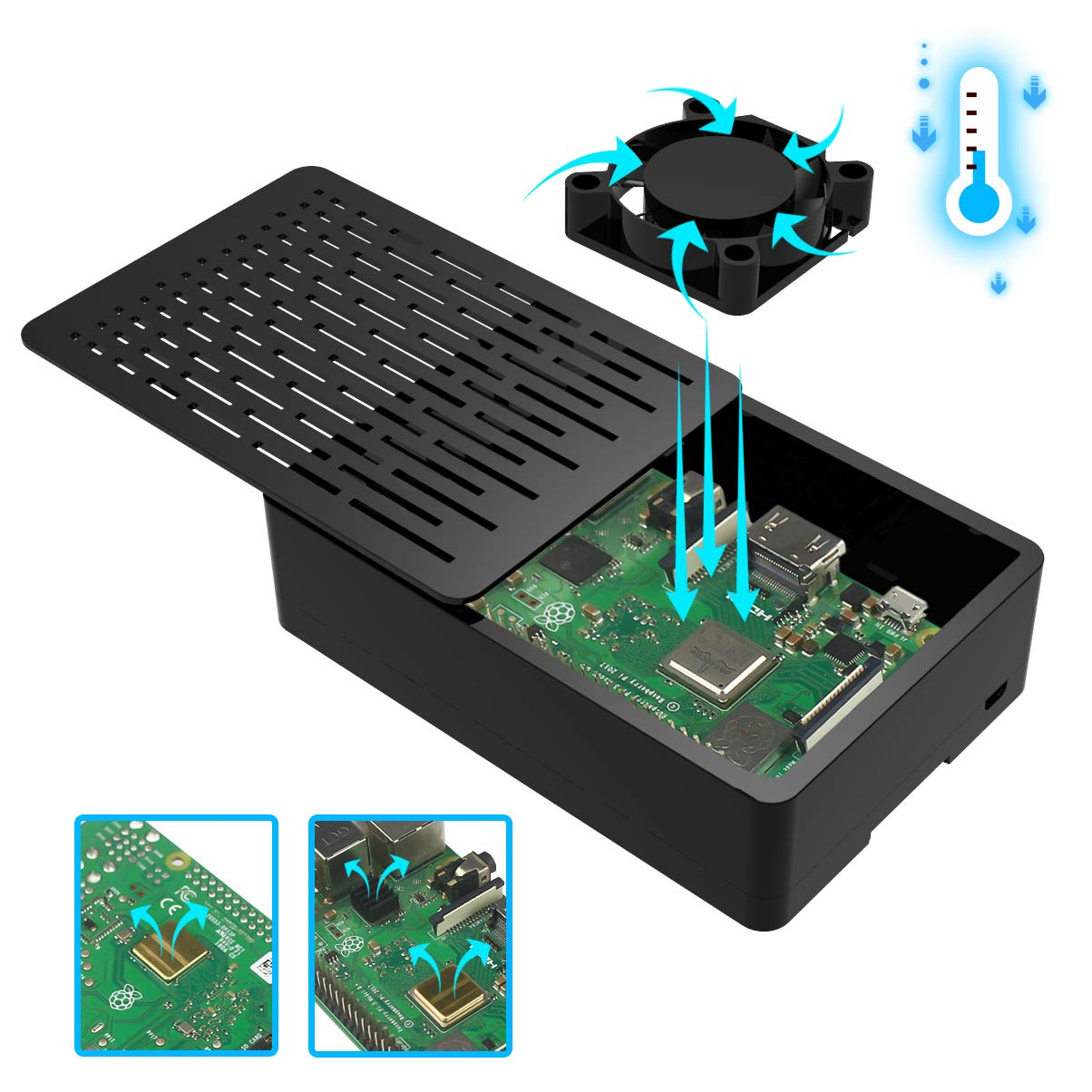 for Raspberry Pi 3 B+ Case with Cooling Fan, 3pcs Heat-Sinks, Compatible 3.5 inch Screen Enclosed Case