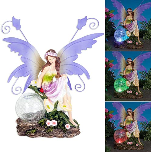 Bits And Pieces Outdoor Fairy Sculpture-Color Changing Solar Garden Fairy – Multicolored Changing Bulb – Solar Powered