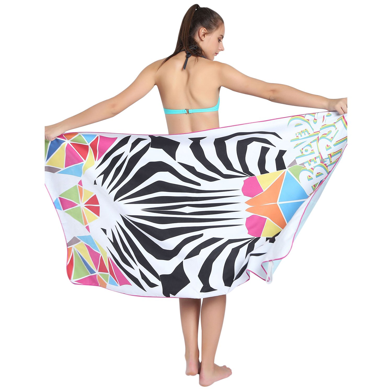 Towel Master Quick Dry Towel,Oversized Beach Towel- 63''x31'', Absorbent, Compact, Sand Proof. Best Lightweight Towel for the Swimming, Sports, Camping,Beach - Gift Pouch(Zebra)