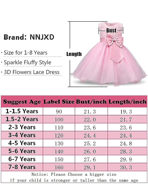 NNJXD Girl Sleeveless Lace 3D Flower Tutu Holiday Princess Dresses
