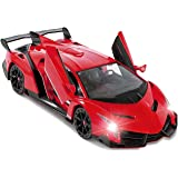 Red Lamborghini Veneno Battery Operated Remote Control Car - Kids Favorite Toy -1/14 Scale